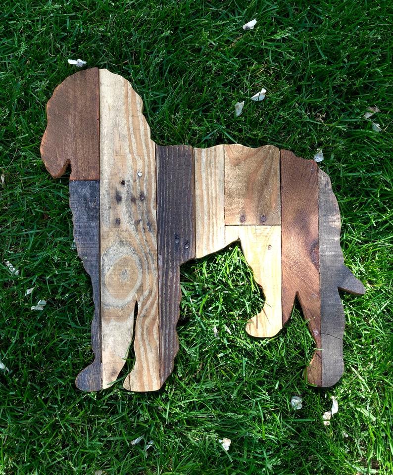 Reclaimed Planked Wood Labradoodle Dog Home Decor image 0