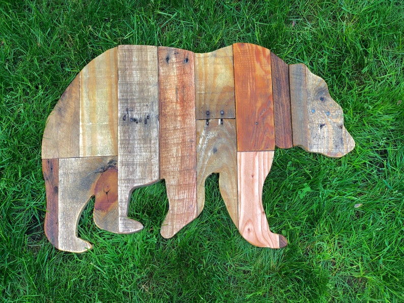 Reclaimed Planked Wood Bear Home Decor image 0