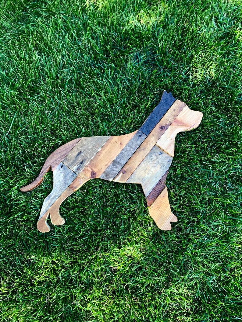 Pit Bull Dog Reclaimed Planked Wood Home Decor image 0