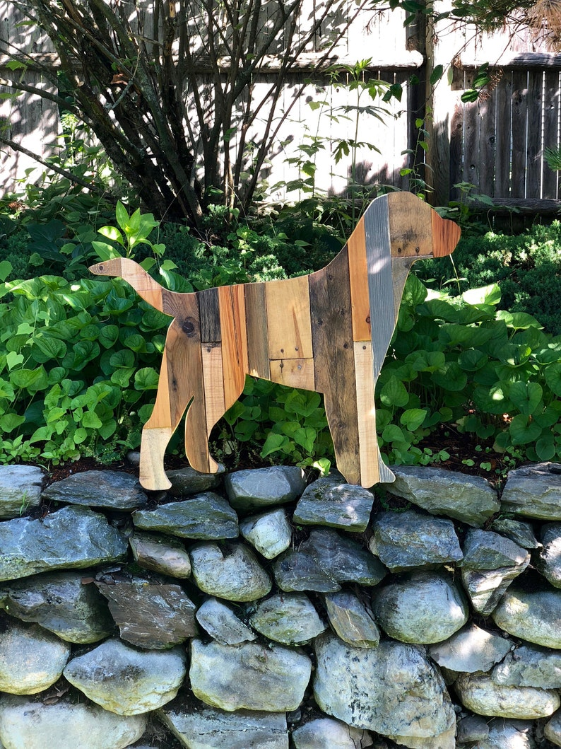 Reclaimed Planked Wood Labrador Retriever Dog Wall Hanging image 0
