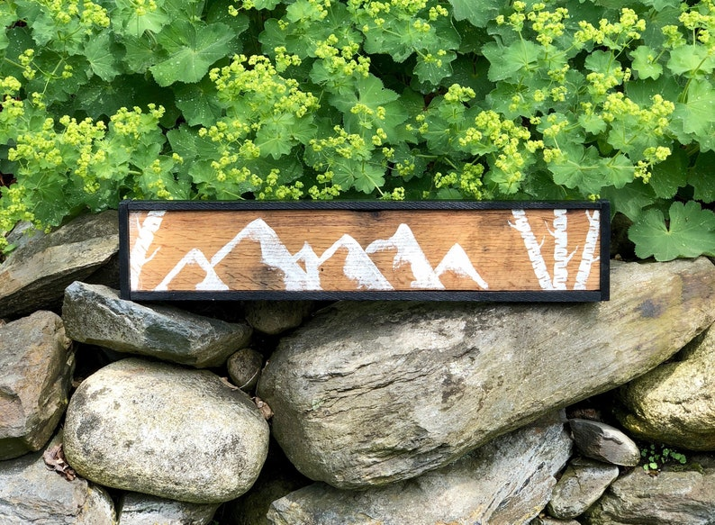 Reclaimed Wood Mountain and Birch Tree Art image 0