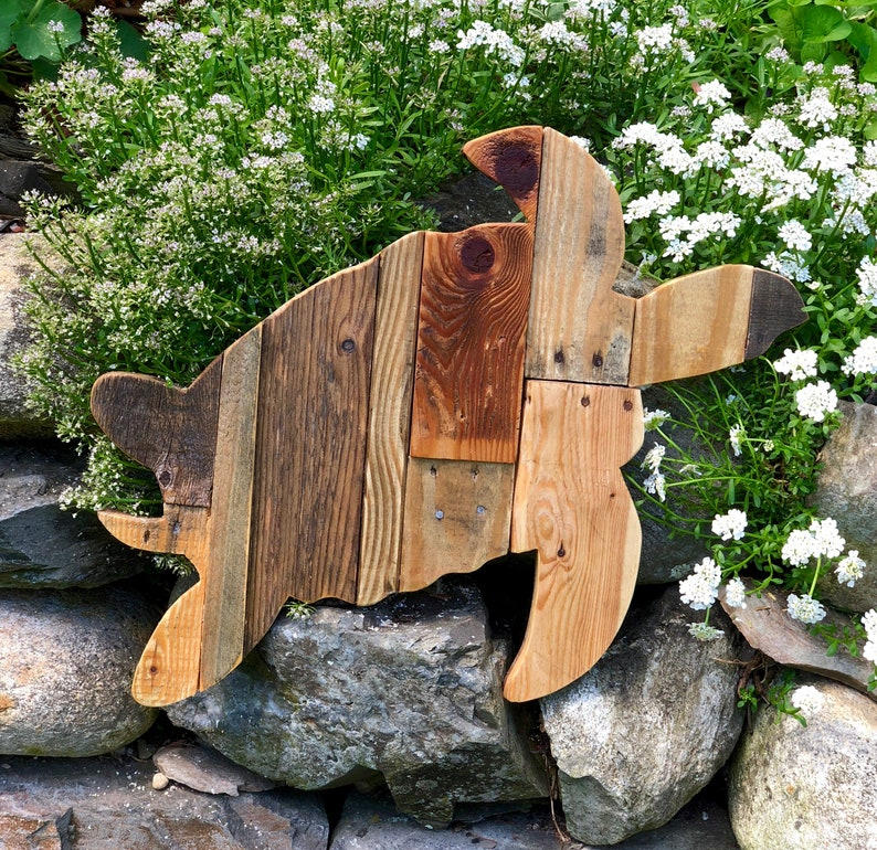Reclaimed Planked Sea Turtle Home Decor image 0