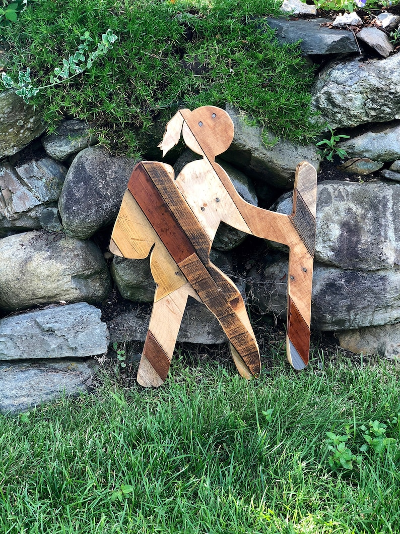 Female Hiker Trail Sign with Reclaimed Planked Wood Home Decor image 0