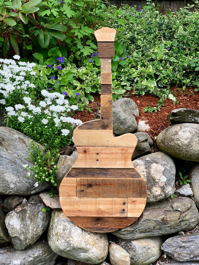 Reclaimed Wood Guitar Home Decor image 0