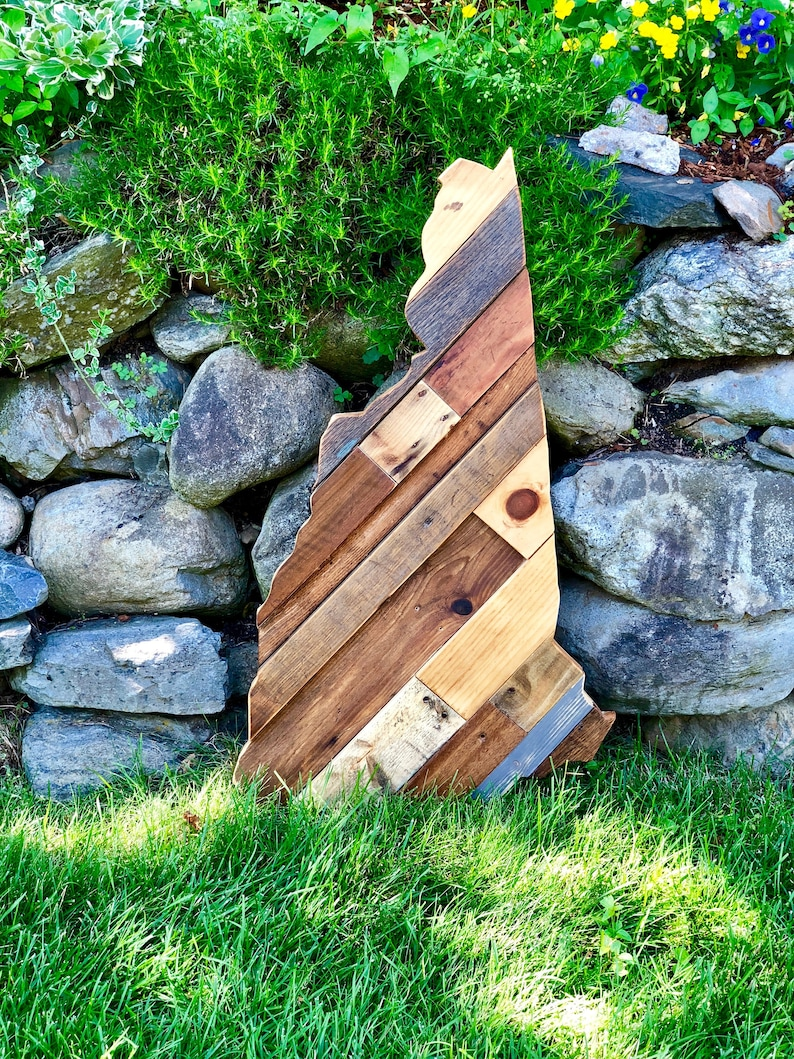 Reclaimed Wood NH State Silhouette Home Decor image 0