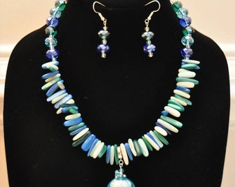 Blue & Green Shell Necklace Set