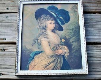 Antique The Duchess Of Devonshire Wood Framed Portrait Print Sunday Courier