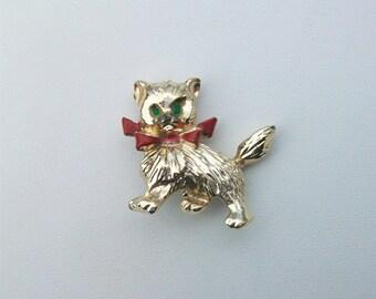 Vintage Cat Kitty Brooch Pin