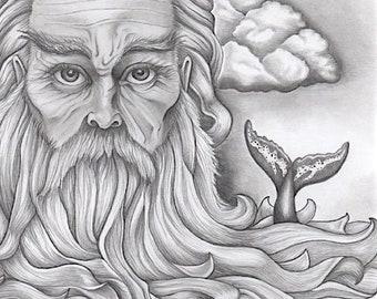 Poseidon Seascape - Graphite Pencil Illustration