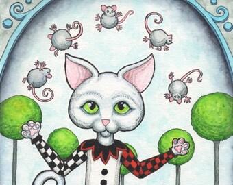 Jester Cat Juggling Mice - Watercolor Painting - Art Print