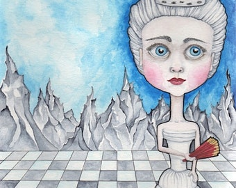 Surreal White Chess Queen - Watercolor Art - 8x10 Print