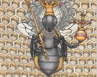 Queen Bee As Queen Elizabeth - Art Print - Watercolor Painting