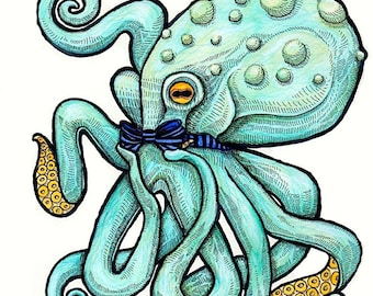 Gentleman Octopus Wearing Bow Tie - Art Print - Watercolor Painting