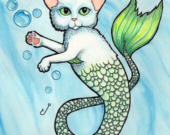 Mercat Purrmaid Catfish in Blue Water - Art Print - Watercolor Painting