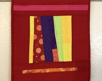 Textile Art Red Geometric Quilt
