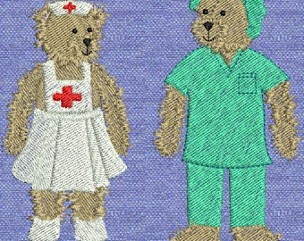 10 Fuzzy Bear Nurse Machine Embroidery Designs