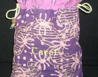 Purple Batik Cotton Double Drawstring Tarot Bag