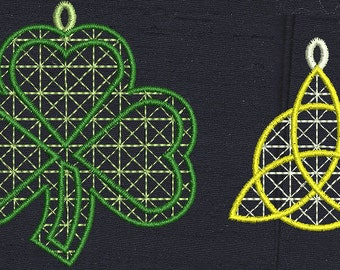 9 Free Standing Lace Celtic Decorations and a set of FSL Celtic Earrings