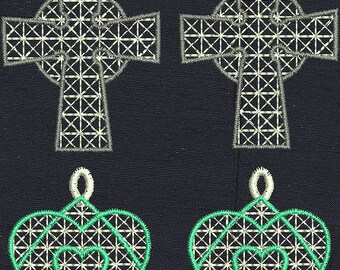 9 Free Standing Lace Earring Size Machine Embroidery Designs and 1 Decoration