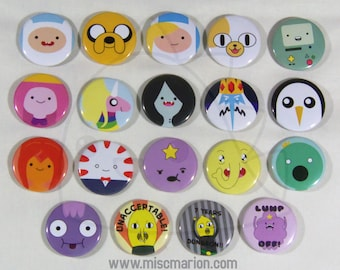 Adventure Time Buttons, Magnets or Keychains 1.5 Inches