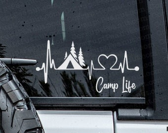 Camp Life Heartline Vinyl Decal, car decal, laptop decal, laptop sticker, stickers, water bottle sticker