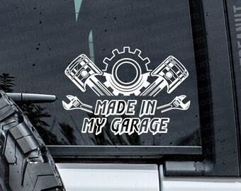 Made in my Garage Mechanic Car Guy Vinyl Decal, car decal, laptop decal, laptop sticker, stickers, water bottle sticker
