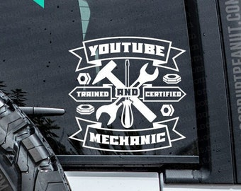 Youtube Trained and Certified Mechanic Vinyl Decal, car decal, laptop decal, laptop sticker, stickers, water bottle sticker