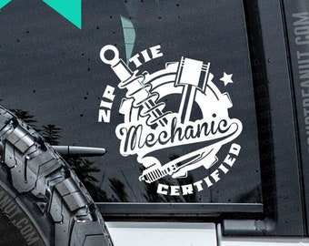 Zip Tie Mechanic Certified Car Guy Vinyl Decal, car decal, laptop decal, laptop sticker, stickers, water bottle sticker