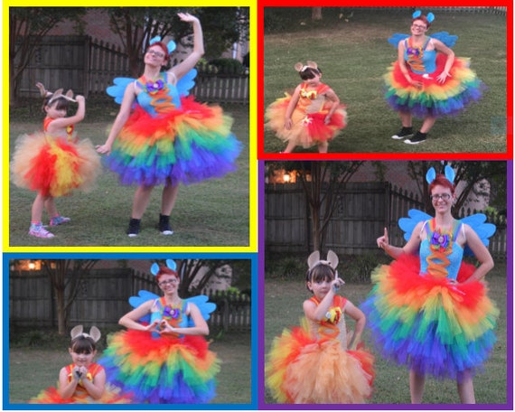 Rainbow Dash Inspired  Ring Tutu   with ears and wings