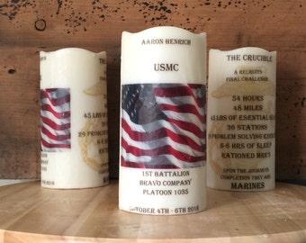 CRUCIBLE CANDLE with flag- United States Marine Corps (USMC) yellow foot prints, ega, parris island San Diego crucible unitedbycandlelight