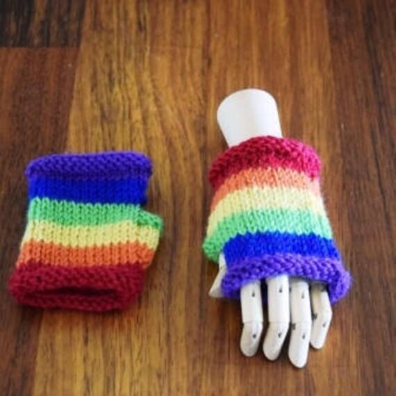 Rainbow Childrens Fingerless Gloves Kids Rainbow Gloves Etsy