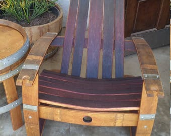 Wine Barrel Adirondack Chair With Free Shipping Etsy