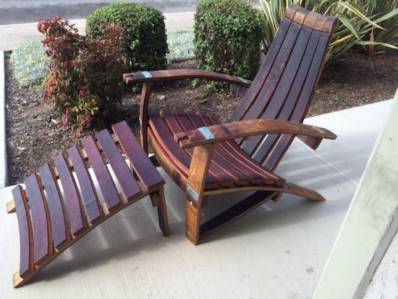 Adirondack Chairs Made From Retired Wine Barrels Side Table Set Plus 2 Ottoman Foot Rests