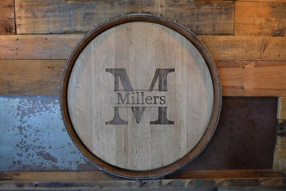 Personalized Reclaimed Wine Barrel Headlazy Susanclockwall Etsy