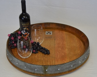 Lazy Susan Wine Barrel Top Plain or Labeled/Free Shipping