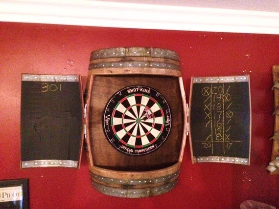 Wine Barrel Dartboard Cabinet | Etsy