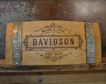 Personalized Family Established Wine Barrel Stave Sign/Laser Engraved/Laser Engraving/Personalized/Wedding/Wall Art/Free Shipping
