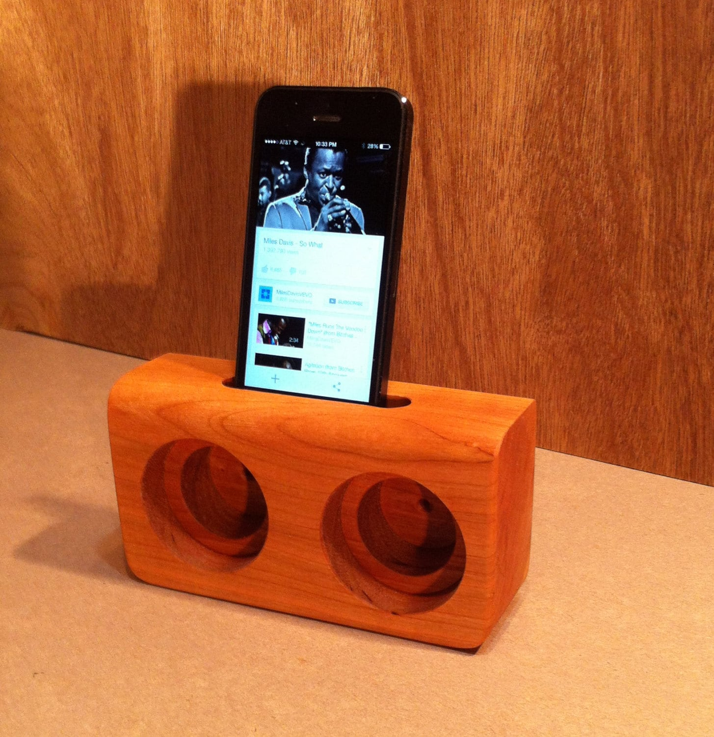 Wooden cell phone speakers