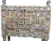 Blue Tribal Damchiya Console, Vintage Eclectic India Mirrors Traditional Sideboard, Spice Chest, Hall Table, Sofa Table
