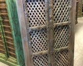 Antique Indian Blue Cabinet Latticed window Hand Carved Wooden Storage ECLECTIC FARMHOUSE COUNTRY Armoire