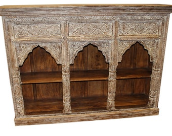 Ivory White Wood Arched Book Shelf Vintage Storage Indian Antique Hand Carved Bookcase
