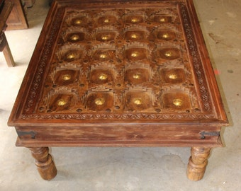 Rustic EARTHY WOOD CHAI TABLE Beautiful Antique Hand Carved Coffee Table  Reclaimed Brass STARS Solid Wood Living Room Furniture