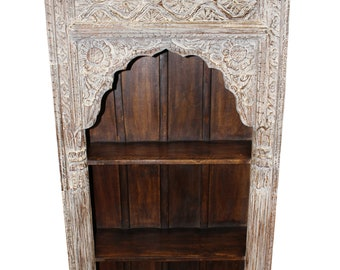 Antique INDIAN Arched Bookcase Ivory White Wood Book Shelf Vintage Storage Home Decor