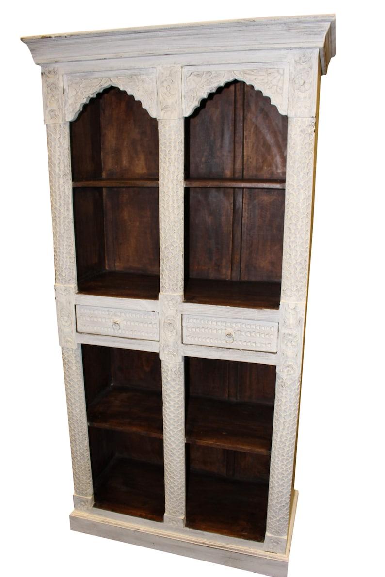 Antique White Dark Brown Indian Style Arch Bookcase Solid Teak Wood Two Drawers Vintage Bookshelf Storage Cabinet