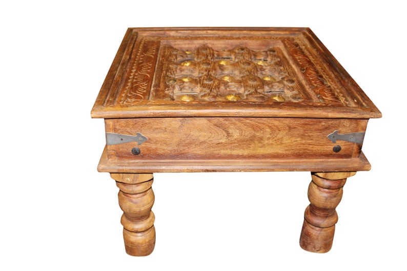 Antique Coffee Table.Unique Antique Coffee And Cocktail Table Brown Solid Wood Hand Carved Vintage Indian Tea Table