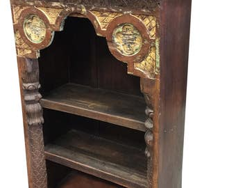 Antique Indian Arch Bookshelf Book Case Arched Frame Teak Patina India Interiors Design