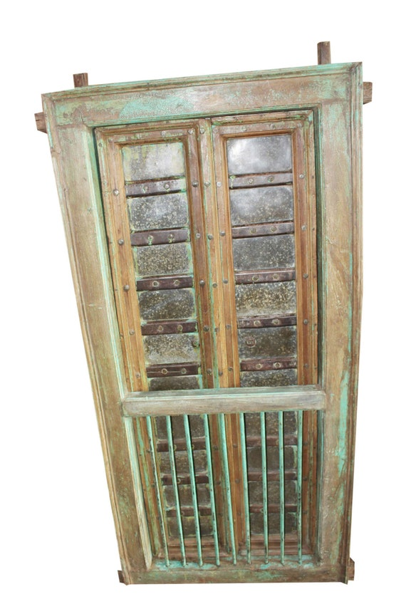 Indian Carved Terrace Window Door Teak Wood Green Solid Wooden Iron Jharokha Windows Distressed Rustic Conscious Design