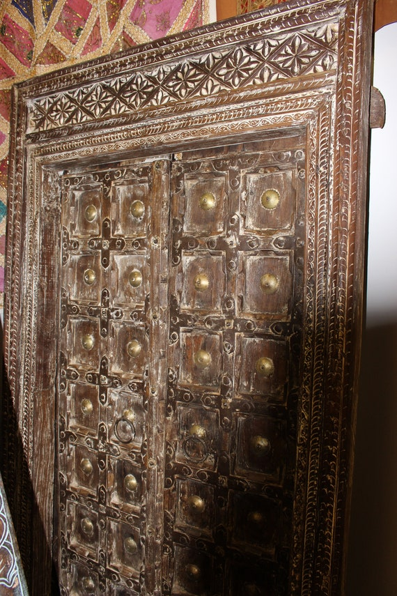 image 0 - Indian Antique Teak Wood Doors Brass Medallion Beautiful Etsy