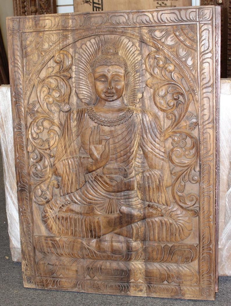 Vintage Wood Budha Hand Carved Wooden Wall Art Sitting Buddha Wall Panel Wall Sculpture Interior Zen Wellness Decor