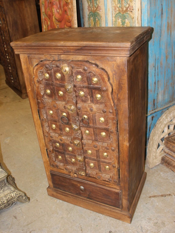 image 0 - Antique Indian Doors SMALL CABINET Rustic Accent Decor Etsy